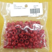 Red Opaque Plastic Crow Beads