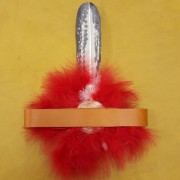 Sample of a completed headband (with fluffs and hand painted feather, sold separately)