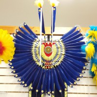 Completed Traditional Bustle (Royal Blue spike feathers)