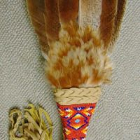 Turkey Feather Fan by Aurora Walker with Red, Orange, Yellow, Blue, and White Beaded Handle
